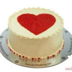 Red Heart on Round Valentine cake