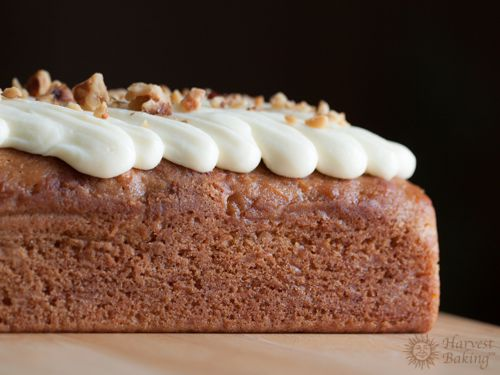 Carrot Loaf Cake with Cream Cheese Icing and Walnuts